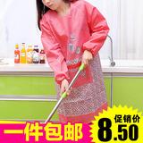 6848韩一体式围裙长袖防水厨房成人罩衣反穿衣罩可爱带袖围裙包邮