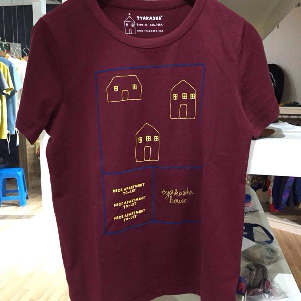 酒红色沙�z--9f_tyakasha塔卡沙 建筑系列 酒红色男女通款广告标语t恤s码