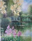 特价包邮 精品家居手绘油画田园风光 餐厅客厅风景装饰画小桥流水