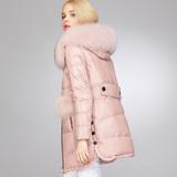 欧洲站海宁真皮羽绒服绵羊皮皮衣女中长款狐狸毛领外套2015新款