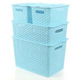 大号藤编有盖塑料收纳箱零食玩具整理盒化妆品内衣物收纳盒储物箱