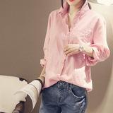 棉麻衬衫女长袖春秋装韩版学生纯色打底衬衣女中长款外穿上衣服潮