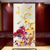 3D艺术玻璃玄关过道背景墙中式装饰金箔彩雕工艺玻璃玉兰富贵吉祥