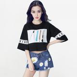 Angelababy杨颖同款韩版中袖字母印花t恤女夏季宽松短款学生上衣