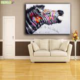 欧式客厅装饰纯手绘油画现代创意抽象斑马无框画简约餐厅卧室挂画