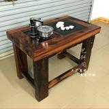 老船木茶桌椅 组合 阳台茶艺桌户外茶台简约功夫泡茶几古船木家具