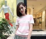 2016女春夏装新款职业阿玛施特价旗舰店针织条纹短袖T恤衫700911