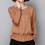 女士长袖t恤秋季韩版宽松显瘦雪纺衫收腰上衣女装大码短款打底衫