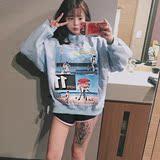 韩版学院bf风原宿字母贴布套头卫衣宽松短款t恤女长袖学生上衣潮