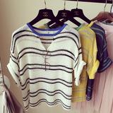 2016夏季新品韩版宽松套头冰丝圆领镂空条纹短袖针织衫上衣女薄