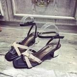 2016夏季新款韩版个性拼色交叉绑带露趾粗跟高跟气质优雅女凉鞋