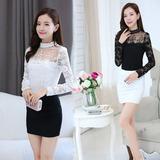 2016秋季新款韩版修身显瘦女装长袖立领镂空蕾丝衫上衣雪纺打底衫