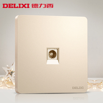 Delixi switch socket gold cable socket a TV socket 86 type household power supply wall panel
