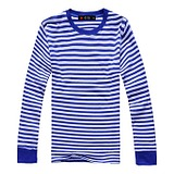 春秋海军衫男装圆领长袖t恤 加肥加大码 男士蓝白条纹海魂打底衫