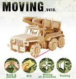 包邮 若态科技木制电动拼装模型玩具遥控车 军事导弹车V410
