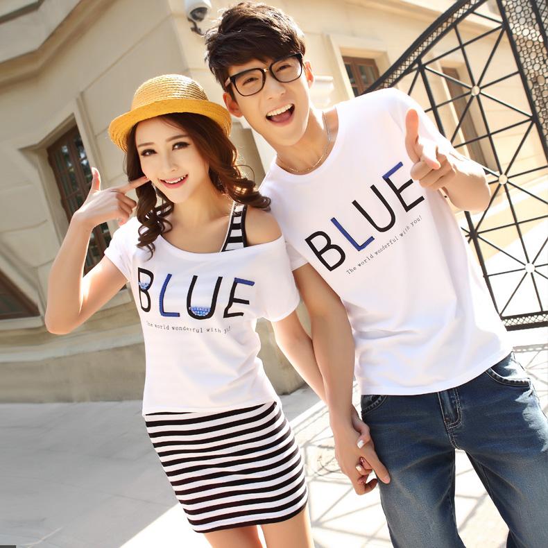 蓝天麦子情侣装夏装2014新款女装T恤背心中长款连衣天猫低至 78.00元