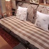 灰白咖格四季全棉沙发垫布艺坐垫 欧式防滑真皮沙发套沙发巾定做