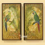 外贸原单 欧式复古室内装饰画 黑高边鹦鹉壁画对画 家居装饰挂画