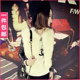 包邮2015秋冬季最新款蘑菇街女士女装衣服仿皮草毛毛短款外套夹克