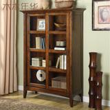 美式书柜全实木书橱移门书架陈列柜展示柜装饰柜置物柜玻璃门定制