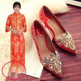 2016春季中式绣花水钻高跟鞋新娘鞋细跟红色结婚鞋水晶龙凤旗袍鞋