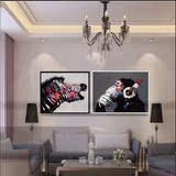抽象动物纯手绘油画听音乐的大猩猩装饰画鹿猫狗斑马客厅卧室挂画