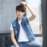 2016年新款男士马甲春秋款青少年韩版无袖坎肩男学生时尚牛仔外套