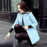 2015冬装新款韩版大码女装秋冬季新品百搭中长款呢子大衣毛呢外套
