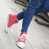 韩版时尚运动款 女式短筒橡胶雨鞋 白色圆点帆布系鞋带雨靴