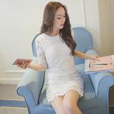 2016夏季新品韩版镂空修身显瘦蕾丝连衣裙中长款复古包臀打底裙
