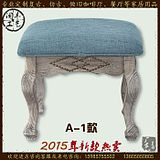 新款美式乡村复古美甲凳子卧室梳妆凳化妆凳换鞋凳软包布艺方凳子