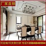 样板房家具 新中式实木餐桌椅组合 酒店会所布艺餐椅长桌会议桌椅