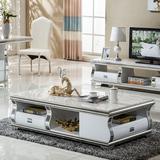 不锈钢大理石茶几现代简约客厅小户型高档电视柜茶几组合 带抽屉