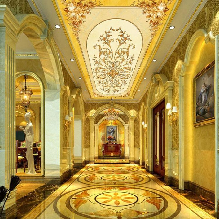 3d大型壁画墙纸壁纸酒店ktv客厅圆形天花板吊顶大堂黄金欧式吊顶图片