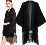 欧美风女装2014新款 黑色纯色蝙蝠袖和服开衫外套宽松防晒罩衫