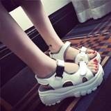 夏季新款车轮底松糕鞋显高厚底内增高凉鞋系带高跟跛跟鱼嘴鞋女鞋