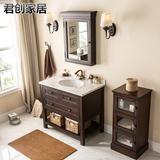 美式落地橡木浴室柜组合洗脸盆洗手台池面盆田园洗漱台盆卫生间柜