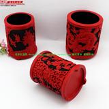 中国风礼品 北京特色工艺品 漆雕笔筒礼盒装 雕漆办公收纳 送老外