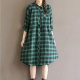 安妮森林W0070文艺复古宽松百搭显瘦绿色格子棉布衬衫外套15秋新