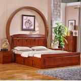 现代中式纯香樟全实木双人床1.8米欧式床铺1.5米仿古床雕花床卧室