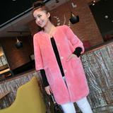 反季清仓特价 高端定制粉红色 羊毛皮毛一体 中长款女皮草外套