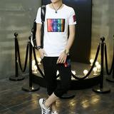 夏季男士休闲短袖t恤韩版青年七分裤薄款两件套学生运动套装潮流