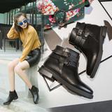 2016秋冬新款平底低跟短靴单靴短筒英伦风女靴学生方头真皮马丁靴