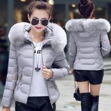 2016秋冬棉衣短款羽绒服女装韩版修身轻薄保暖大毛领加厚外套正品