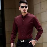 春季薄款男式丝光棉长袖衬衫中年男士商务免烫纯色修身男衬衣爸