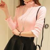 秋冬新款高领打底衫针织衫短款荷叶长袖外套毛衣套头女装修身