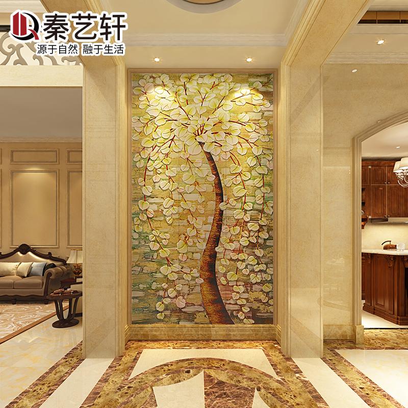 秦艺轩 玄关瓷砖背景墙欧式3d雕刻瓷砖壁画发财树过道艺术背景墙图片