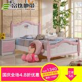 儿童全实木公主床1.5米单人粉色韩式小女孩环保实木床1.2米公主床