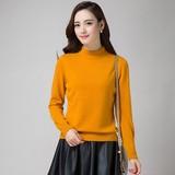 2015冬季新款韩版羊绒衫女半高领短款毛衣打底针织衫修身显瘦套头