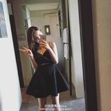 兔子的口袋2016夏季新款 镶钻吊带抹胸腰部镂空A字黑色礼服连衣裙